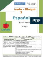 Plan 3er Grado - Bloque 3 Español (2015-2016)