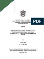 SKRIPSI Penerapan Transfer Pengetahuan (Sharing Knowledge) Pada Divisi Pelayanan PT. PLN (Persero) Makassar Timur