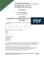 III Sem. BA Economics - Core Course - Quantitative Methods for Economic Analysis - 1