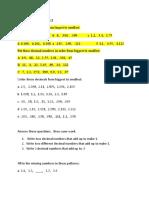 Decimals Activity Sheet 2
