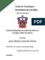 Zonas productoras de limón en la zona Valles de Jalisco