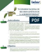 """Convocatoria """"II Congreso Nacional de Recursos Genéticos de La Agrobiodiversidad"""" 2 Al 4 de Marzo de 2016_laquinua.blogspot.com"""