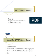 Use of Ford APQP Status Report
