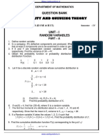 FOURTH SEMESTER PROBABILITY AND QUEUING THEORY TWO MARKS WITH ANSWERS REGULATION 2013