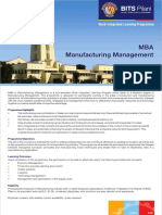MBA in Manufacturing Management