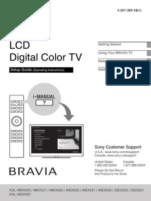 Sony Bravia Kdl Ex520 Ex521 Ex523_qs | High Definition
