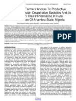 Evaluating Farmers Access to Productive Resources Through Cooperative Societies and Its Effects on Their Performance in Rural Communities of Anambra State Nigeria