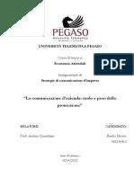 La Comunicazione d'Azienda - Ruolo e Peso Della Promozione