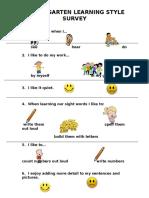 kindergarten learning style survey