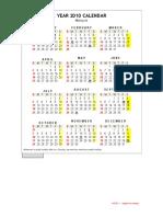 Malaysia Year 2010 Calendar