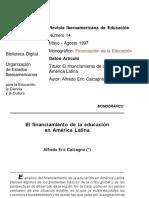 El Financiamiento de La Educacion en America Latina