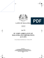Act 74, St. John Ambulance of Malaysia (Incorporation) Act 1972