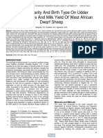 Effect of Parity and Birth Type on Udder Characteristics and Milk Yield of West African Dwarf Sheep