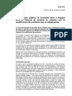 La contratación pública ante el Tribunal de Justicia por la modificación de contratos.
