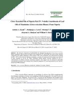 Citrus Essential Oils of Nigeria Part IV Volatile Constituents of Leaf