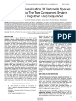 Phylogenetic Classification of Bartonella Species by Comparing the Two Component System Response Regulator Feup Sequences