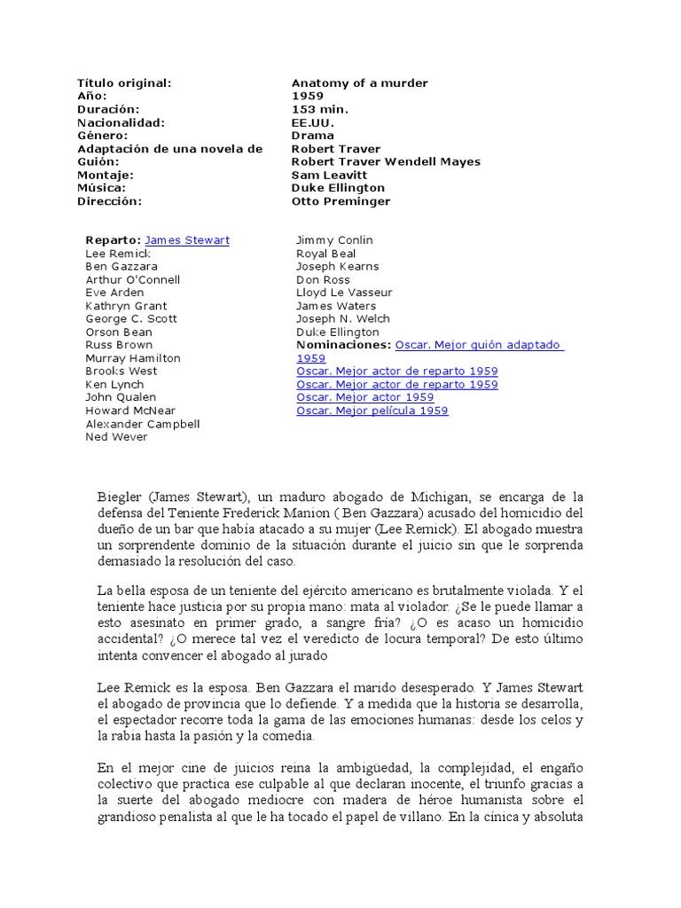 Dorable Anatomía De Un Asesinato Robert Traver Imagen - Anatomía de ...
