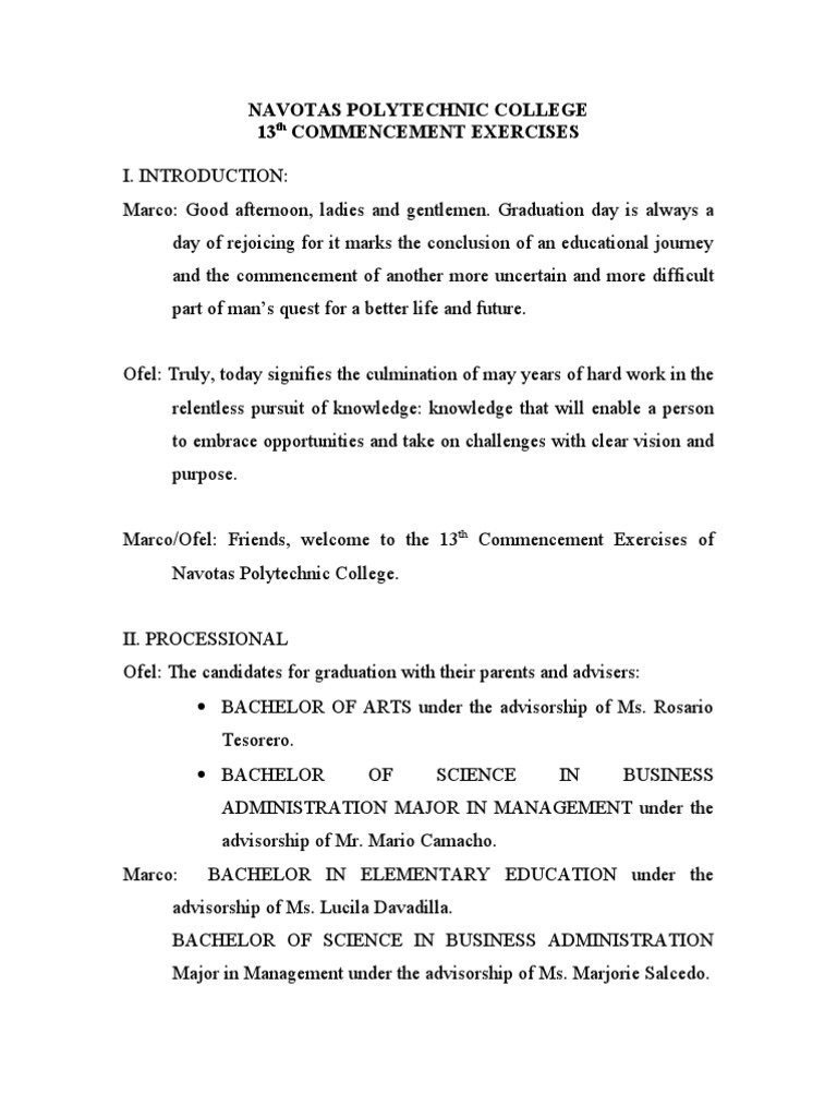 Navotas Polytechnic College Script COMMENCEMENT | Academia ...