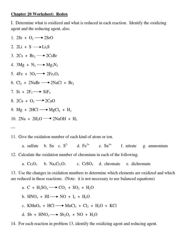 {Chapter 20 Worksheet Redox Redox – Chapter 20 Worksheet Redox