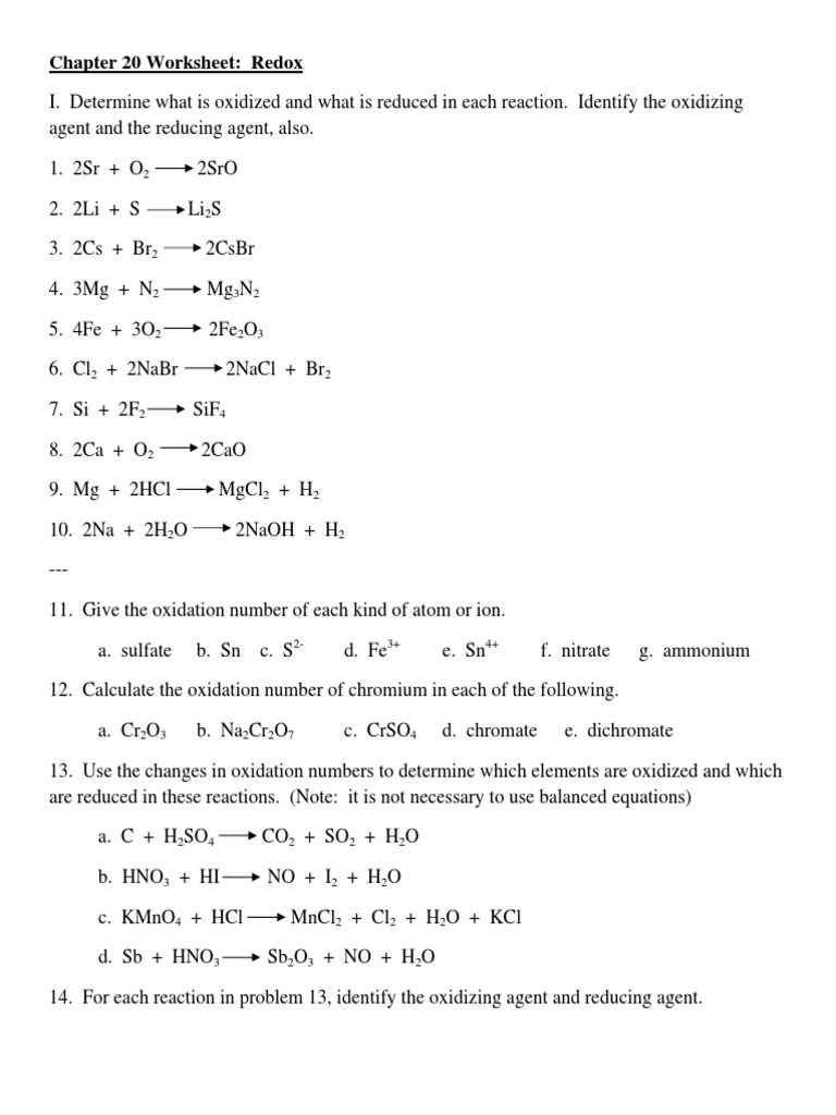 Chapter 20 Worksheet Redox | Redox | Chemistry