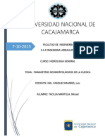 Parametros Geomorfologicos de La Cuenca