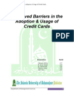 Perceived Barriers in The Adoption & Usage of Credit Cards