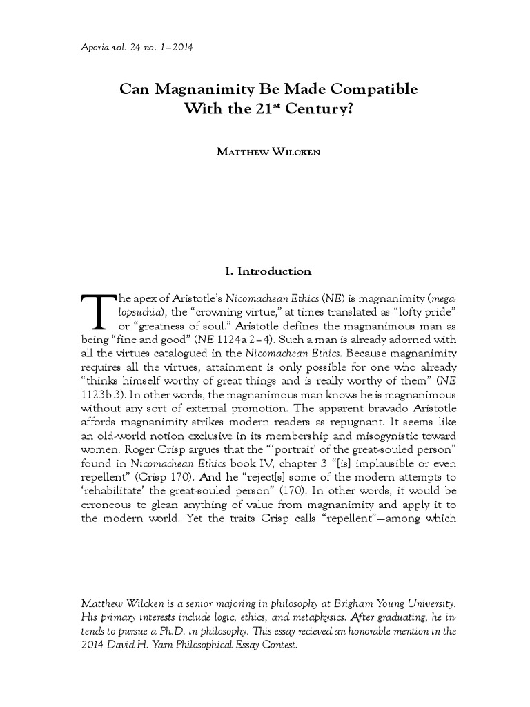 an introduction to the magnanimity Recent work: this page contains  an introduction to hegelian logic and metaphysics  reason, genealogy, and the heremeneutics of magnanimity.