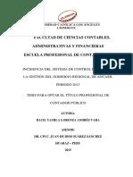INCIDENCIA DEL SISTEMA DE CONTROL INTERNO EN LA GESTIÓN DEL GOBIERNO REGIONAL DE ANCASH, PERIODO 2013