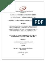 PARTICIPACIÓN DEL CONTROL INTERNO EN LOS PROCEDIMIENTOS ADMINISTRATIVOS DE LAS EMPRESAS DE SERVICIOS - CASO EMPRESA R Y L SERVICIOS GENERALES S.R.L CHIMBOTE 2013