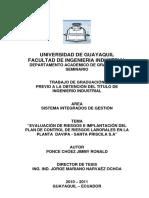 EVALUACIÓN DE RIESGOS E IMPLANTACIÓN DEL PLAN DE CONTROL DE RIESGOS LABORALES EN LA PLANTA DAVIPA