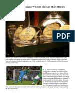 UEFA Champions League Winners List and Short History