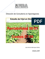 FRIJOL OI Sinaloa - Rentabilidad 2006-2007 Costos 2007-2008