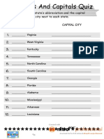 States and Capitals Worksheet