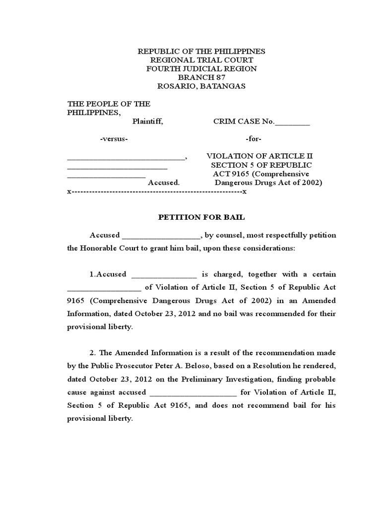 Sample Petition For Bail Article Two Of The United