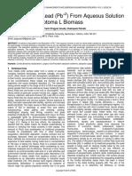 Biosorption of Lead Pb2 From Aqueous Solution on Cordia Dichotoma L Biomass