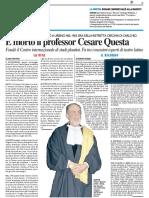 E' morto il professor Cesare Questa - Il Resto del Carlino del 6 febbraio 2016