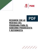 """Las 43 medidas del PSOE para un Gobierno """"progresista"""" y """"reformista"""""""