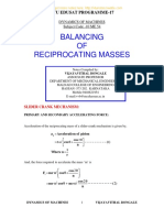 Unit 5 Balancing of Reciprocating Masses
