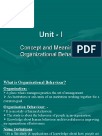 Concept and Meaning of Organizational Behavior