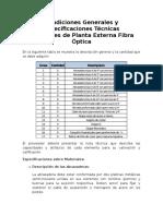 Especificaciones Técnicas Materiales de Planta Externa