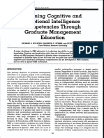 Learning Cognitive and Emotional Intelligence Competencies Through Graduate Management Education