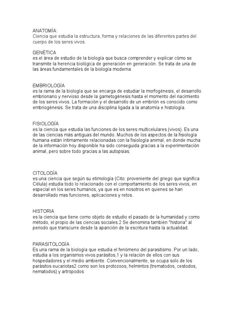 ANATOMÍA Genetica Embriologia Fisiologia Citologia Histotia ...