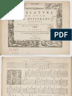 F-Pierre Ballard (1631) Tablature de luth de differens auteurs, sur les accords nouveaux