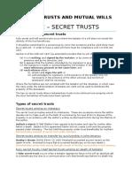 Week 8 - Secret Trusts & Mutual Wills