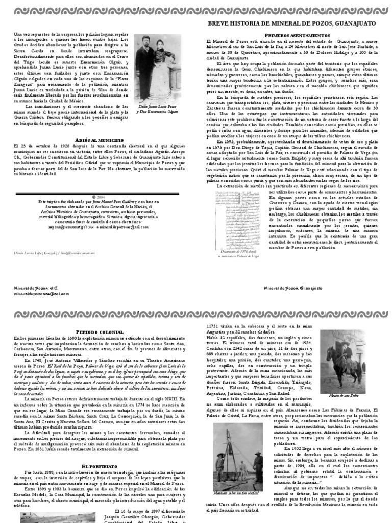 Breve historia del Mineral de Pozos, Guanajuato   Minería