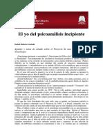 Articulo El Yo Del Psicoanalisis Incipiente