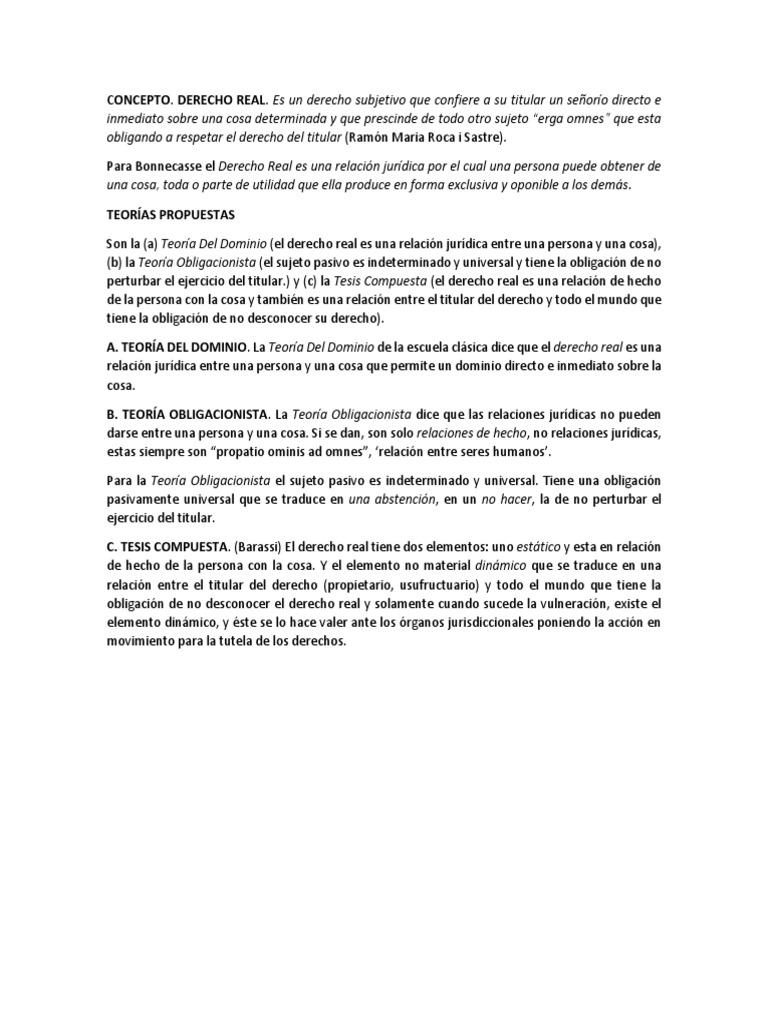 Derechos Reales, Teorias, Sus Clases y Diferencias Entre Derecho ...