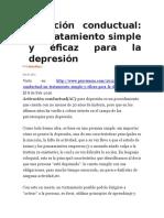 Activación Conductual Un Tratamiento Simple y Eficaz Para La Depresión