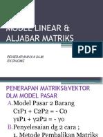 Model Linear & Aljabar Matriks
