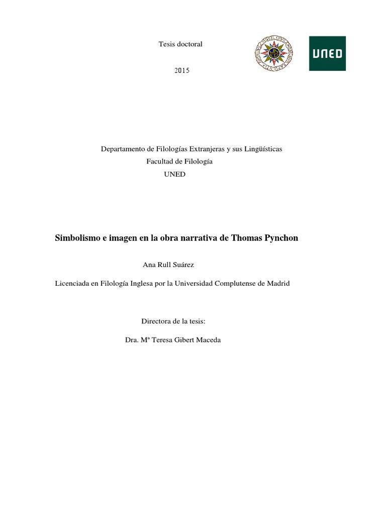 Tesis - Simbolismo e Imagen en La Obra Narrativa de Thomas Pynchon ...